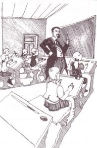 Lehrer vor Schulklasse früher