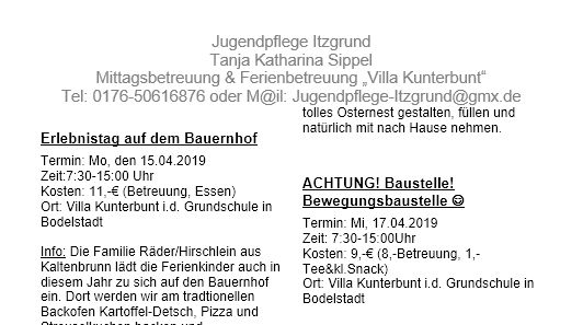 Osterferienprogramm 2019